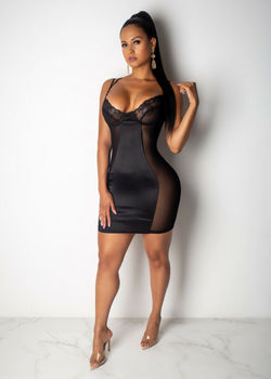 Plus Size Women's V Neck Mesh Sheer Vintage sleeveless Sexy Transparent elegant Bodycon Party Club Mini Dress plus size M-3XL image