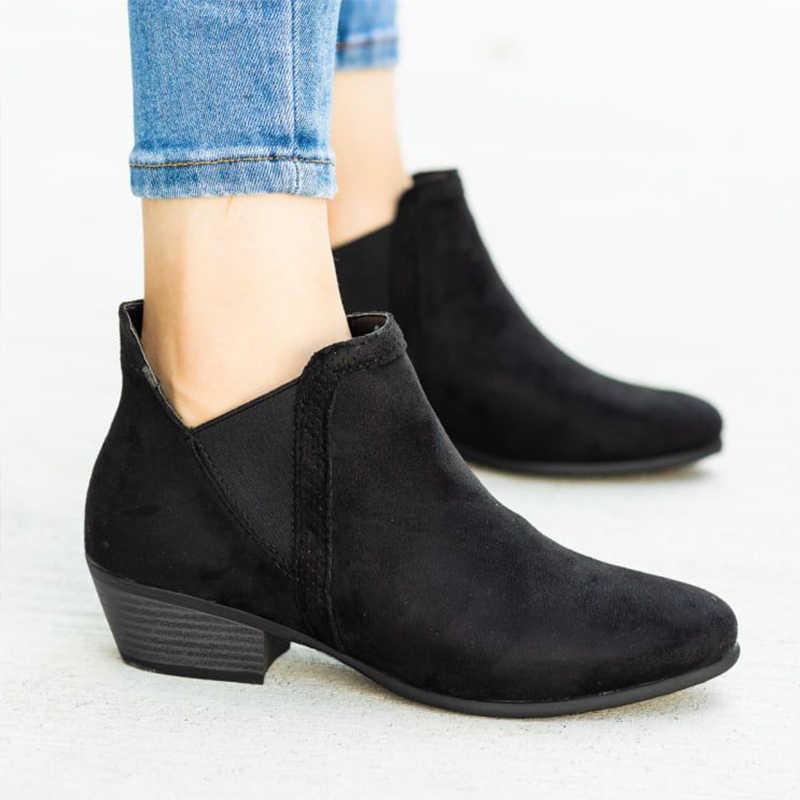 Sonbahar kadın leopar yarım çizmeler gladyatör Chelsea çizme kadın Vintage artı boyutu kadın sivri burun roma orta topuklu bayan ayakkabıları