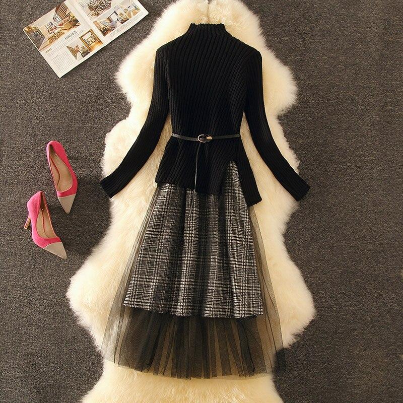 Женское элегантное ТРАПЕЦИЕВИДНОЕ винтажное платье миди в клетку с высоким воротником, трикотажное газовое тонкое платье, комплект из 2 предметов, костюм для женщин 2020, осенне зимнее платье|Платья|   | АлиЭкспресс