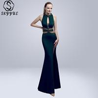 Skyyue Evening Dress High Collar Split Women Party Dresses Sexy Hollow Robe De Soiree 2019 Sleeveless Crystal Formal Gowns C121