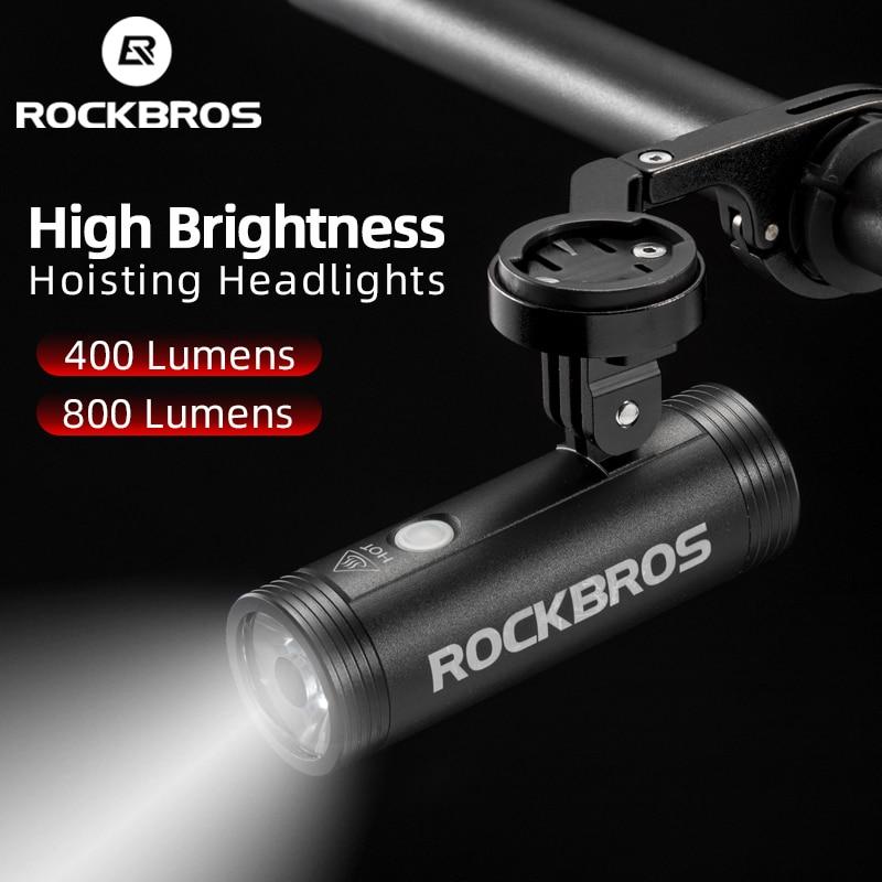 Rockbros Bicycle Headlight Waterproof USB Rechargeable Flashlight Light Lamp BG