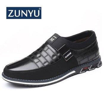 ZUNYU Plus Größe 38-46 NEUE 2019 Echtem Leder Männer Casual Schuhe Marke Herren Loafer Mokassins Atmungs Slip auf fahren Schuhe
