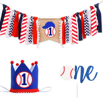 The Nevy Baseball Themed First Baby's Birthday Banner Baseball ONE Hat Garland Chair Flag Cake Topper Baby Shower Party Supplies