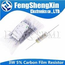 Карбоновый пленочный резистор 3 Вт 5%, 10 шт., 2,2 R ~ 4,7 M 1 2.2R 10R 22R 47R 51R 100R 150R 470R 1K 2,2 K 10K 47K 1 100 10 22 47 51 150 470