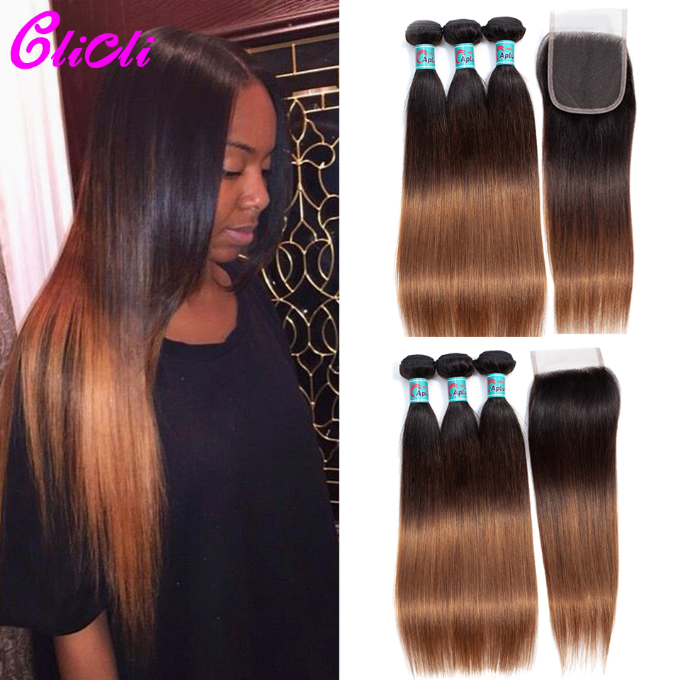 1B 4 30 Ombre Brazilian Hair Bundles With Closure 3 Tone Color Straight Human Hair Weave Bundles With 4x4 Lace Closure Remy