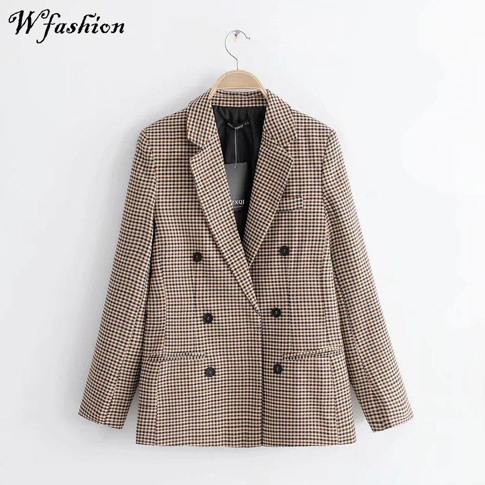 2019 Winter Women Plaid Blazers Suit Coat Jacket Vintage Office Ladies Blazer Long Sleeve Loose Suit Blazer For Women Female