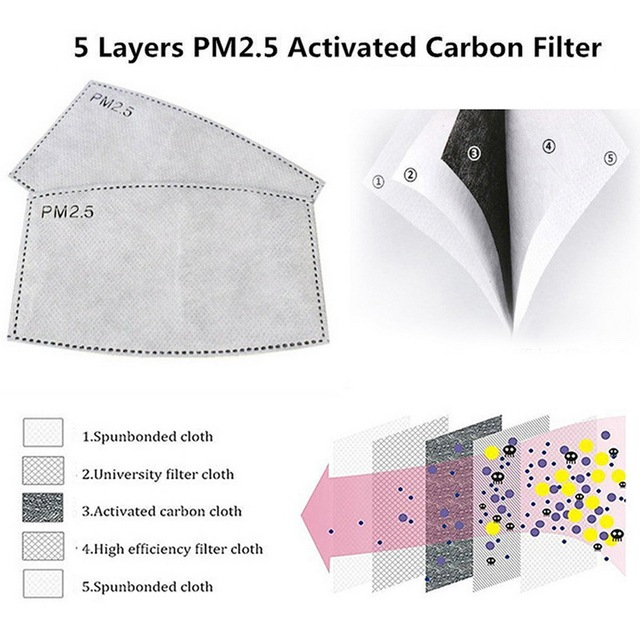 100 PCS 5 Layers PM2.5 Activated Carbon Filter Insert Protective Filter Media Insert for mouth Mask anti dust masks filter 2