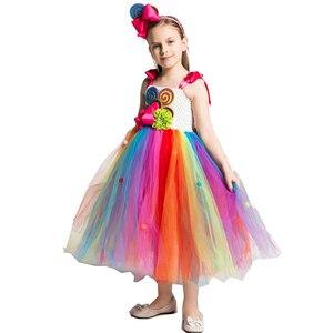 Image 2 - Candy Lollipop Tutu ชุดสาวหวานวันเกิดสายรุ้งชุด Headband วันเกิด Carnival เครื่องแต่งกายเจ้าหญิง Candy Ball Gown