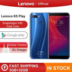 Глобальная версия lenovo K5 Play, 3 ГБ, 32 ГБ, восьмиядерный смартфон Snapdragon 430, 1,4G, 5,7 дюйма, 18:9, отпечаток пальца, Android 8, камера 13,0 МП