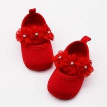 Babyshoes Non Slip Match Dress Soft Bottom Toddler Red Flower Crystal Princess Baby