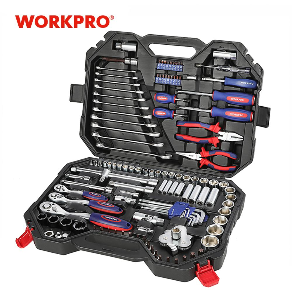 WORKPRO 123PC Mixed Tool Set Mechanics Tool Set Ratchet Spanner Wrench Socket Set 2019 New Design