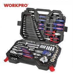WORKPRO 123PC zestaw narzędzi mieszanych narzędzie mechaniczne zestaw klucz zapadkowy klucz zestaw gniazd 2019 nowy projekt Zestawy narzędzi ręcznych Narzędzia -
