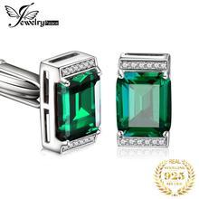 JewelryPalace ผู้ชาย Luxury สร้าง NANO รัสเซียมรกตครบรอบ Cufflinks งานแต่งงาน 925 เงินสเตอร์ลิง