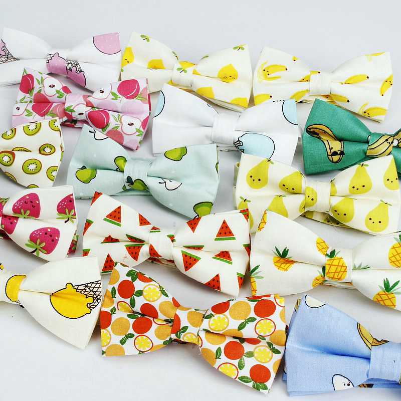 Brand New Men Bow Tie Sweet Fruits Print Cotton Bowtie For Man Casual Gravata Borboleta Butterfly Cute Casual Neck Ties Yellow