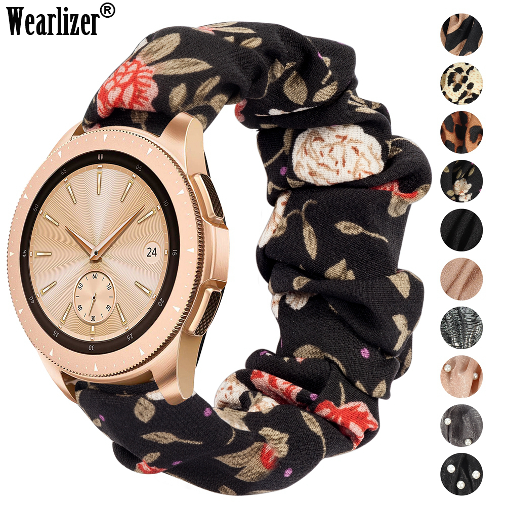 Wearlizer 20mm Women Elastic Watch Band For Samsung Galaxy Watch 42mm /Active 2 40 44mm For Huawei Watch GT2 42mm Strap