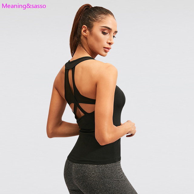 Women Yoga Shirt Backless Sleeveless Female Shirts Quick-Dry Sports Vest Breathable Womens Sportswear yoga Fitness Workout Tops 4