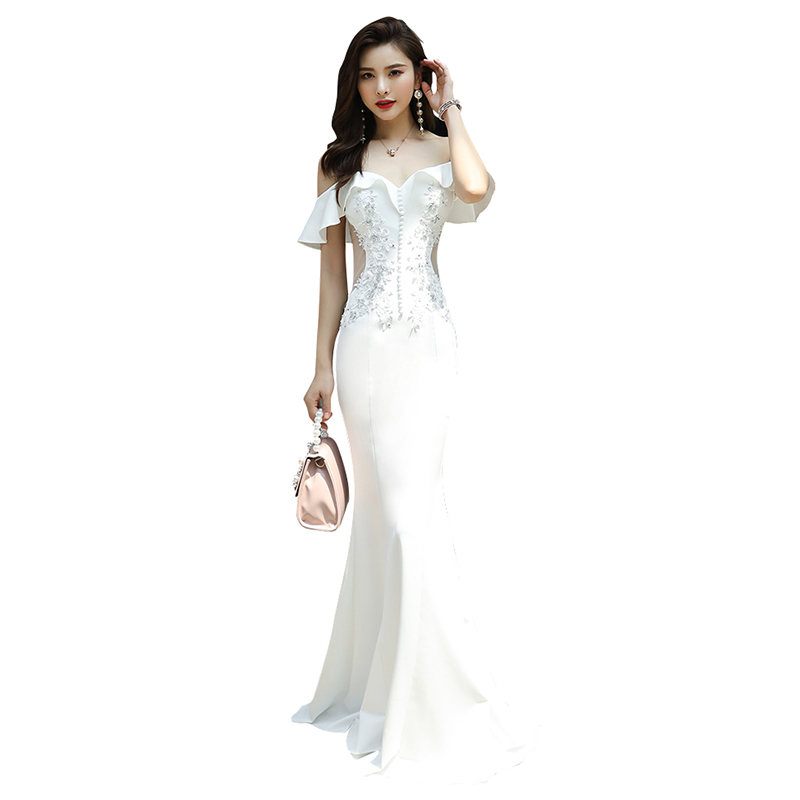Evening Dress Short Sleeve Women Party Dresses Off The Shoulder Robe De Soiree Boat Neck Crystal Elegant Evening Gowns 2019 F109