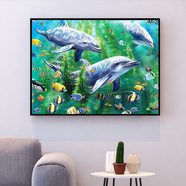 Painting By Numbers Undersea Oceans Dolphin Fish