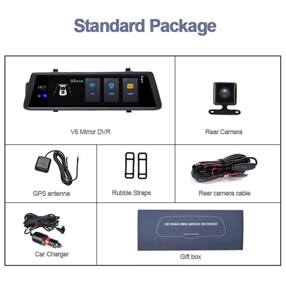 Dash Cam V6 Android 5.0 Auto dvr FHD 1080P 3G Spiegel Dashcam GPS Auto DVR 10 Auto Dvrs rück Auto Kamera Fahren Recorder Video - 6