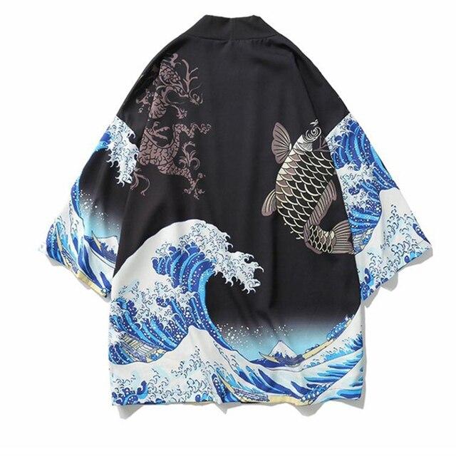 Men Hip Hop Style Cardigan Kimono Haori Literary Japanese Kimono Yukata Oversize Japanese Robe Loose Kimomo Casual Shirt