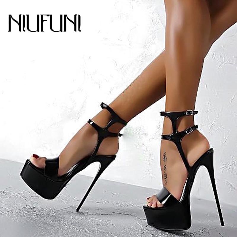 Platform Women Sandals Sexy 16cm Roman Sandals Stiletto High Heels Peep Toe Belt Buckle Nightclub Wedding Shoes Plus Size 34-46