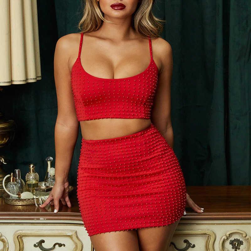 Rode Parel twee stukken set Shine Slim Mini Jurk Vrouwen Zomer Club Jurk Sexy Elegante Crop Top Backless 2Pcs jurken