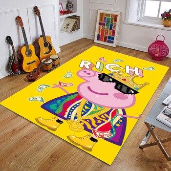 Peppa Pig Anti-slip Flannel Mat Peppa Door Mat Kid Room 3D Cartoon Floor Mat Washable Kitchen Bathroom Carpet Christmas Gift 15