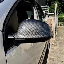 Pour VW Golf MK5 GTI Jetta 5 (noir brillant) en fibre de carbone Passat B6 B5.5 côté miroir couverture 2 pièces Sharan Golf Plus Variant EOS