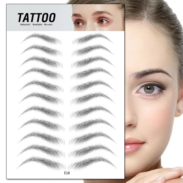 4D Eyebrow Tattoo Sticker Hair-Like False Eyebrows Waterproof Long Lasting Water Transfer Eye Brow Stickers Makeup Cosmetics 3