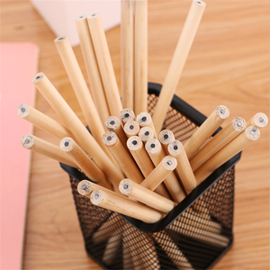 Image 5 - 100pcs/lot Circular Round triangle Hexagon Natural Wood Pencil HB Blank Pencils Non toxic Pencil School Office Black