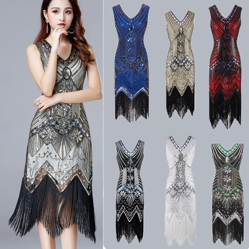 Sequin Beading Diamonds Vintage <font><b>Dress</b></font> <font><b>Deep</b></font> <font><b>V</b></font>-Neck Great Gatsby <font><b>Dress</b></font> 1920s Flapper <font><b>Dress</b></font> Prom Tassel Hem <font><b>Dress</b></font> Club Mini <font><b>Dress</b></font> image