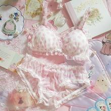 Kawaii japon Lolita prenses sevimli kalp örgü Flouncing iç çamaşırı seti seksi kadın sütyen ve külot seti Bikini iç çamaşırı seti kadın