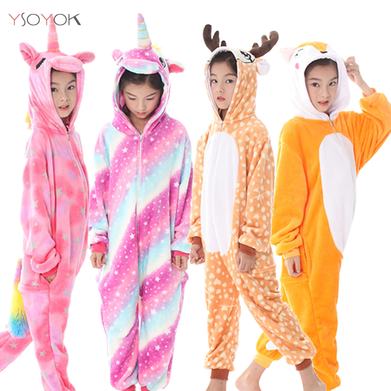 Winter Kigurumi Children Unicorn Pajamas Stitch Panda Onesie Pajamas For Boys Girls Animal Sleepwear Flannel Pyjamas Kids Pijama