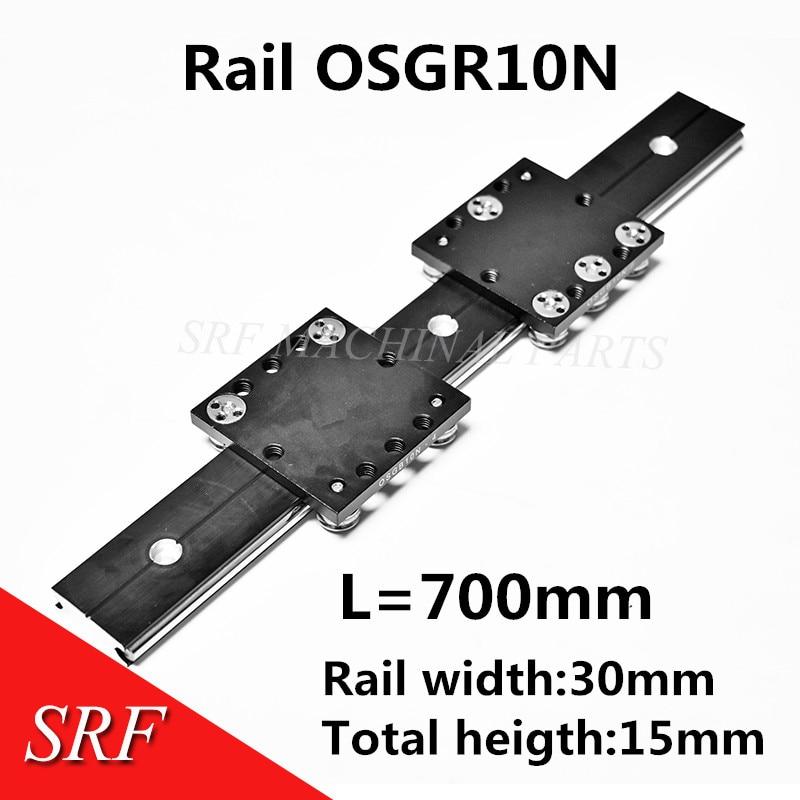 30mm width Aluminum roller Linear Motion Rail OSGR10N linear guide rail L=700mm with OSGB10N Bearing slide block for CNC parts