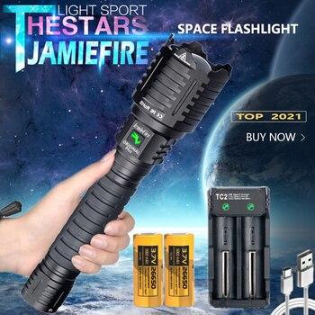 JamieFire-linterna LED potente, luz de Flash más brillante, táctica, de caza, con zoom 26650, recargable por USB