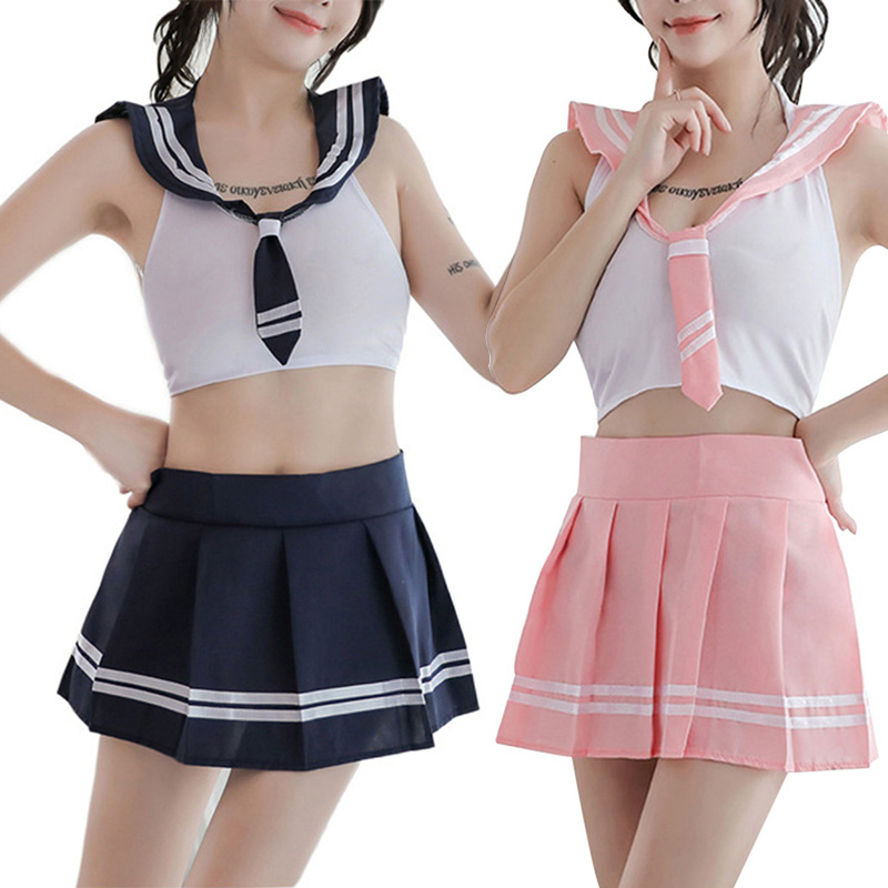 2 PCS Womens School Girl Costume Printed Uniform Top Skirt Set Erotic Underwear Cosplay -MX8