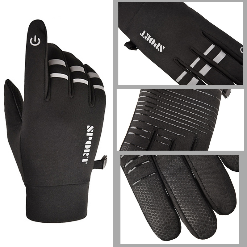 Men Women Motorcycle Gym Glove Touch Screen Windstopper Winter Warm Full Finger Anti-slip Reflective Cycling Riding Ski Gloves