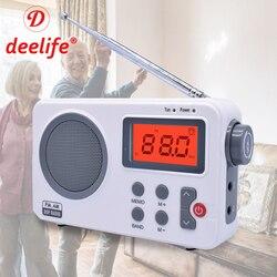 Deelife Portable Radio AM FM with Alarm Clock Antenna for Home Outdoor Digital Mini Small Internet Receiver Pocket Speaker