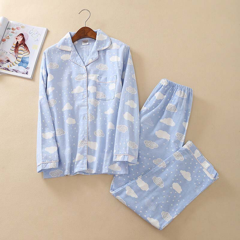 Full Cotton Ladies Pajamas Set Simple Style Cartoon Cloud Printed  2019 Autumn And Spring 2Pcs Sleepwear Homewear Casual Wear