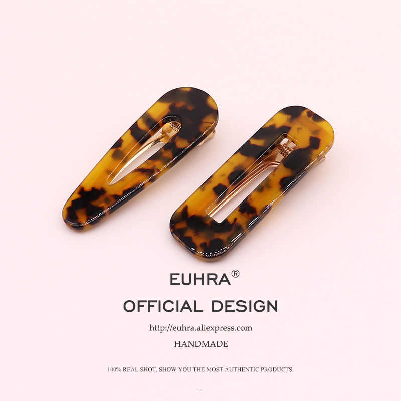 EUHRA 40 Colors Acrylic Hollow Waterdrop Rectangle Hair Clips Tin Foil Sequins Hairpins Barrettes Women Girls Hair Accessories