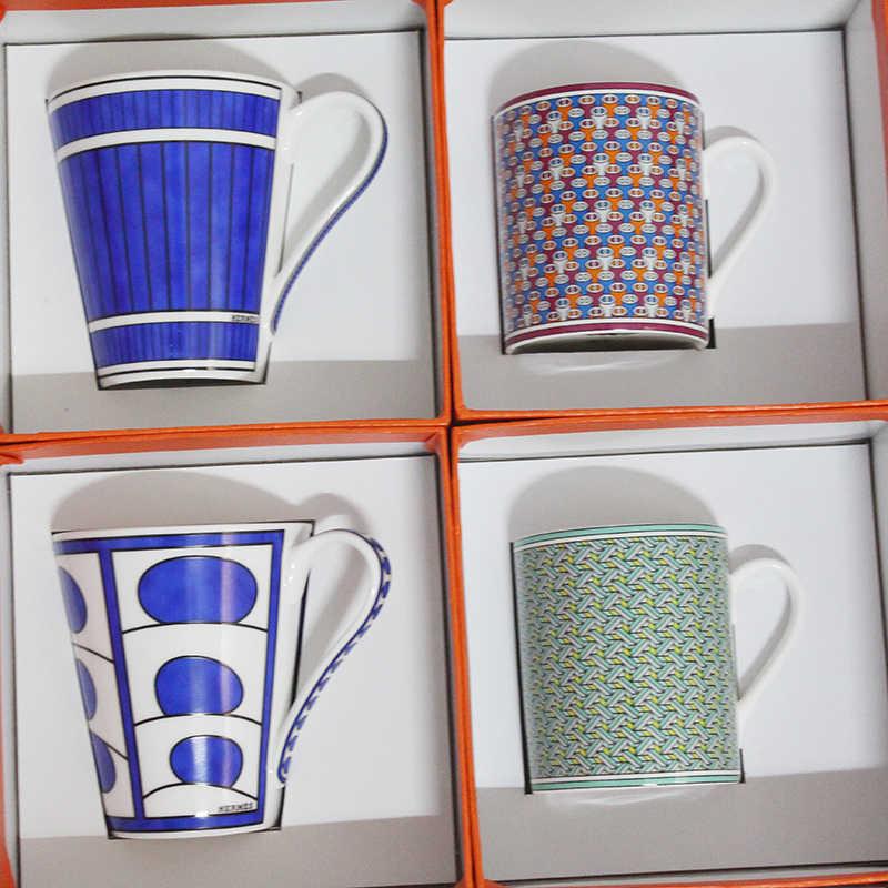 Hot Sale Tulang Halus Cina Cangkir Kopi dan Piala Eropa Gaya Kreatif Keramik Teh Sore Cangkir Teh Air Hadiah Yang Indah kotak