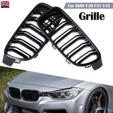 For BMW 3-Series F30 F31 2012-2017 2pcs Left Right Car Front Grille Gloss Black Grilles Racing Grills Mayitr