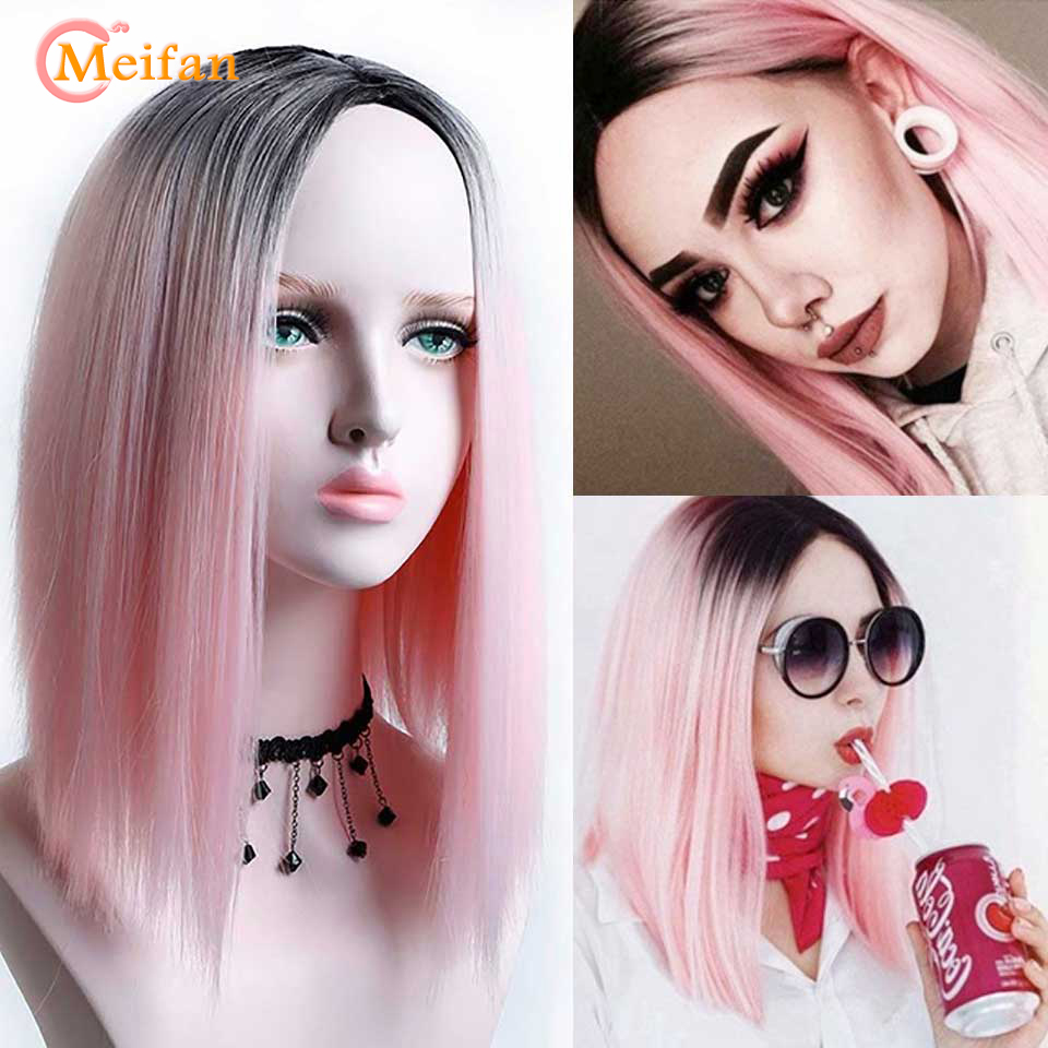 MEIFAN Ombre <font><b>Pink</b></font>/Black Straight Heat Resistant Synthetic Hair <font><b>Wigs</b></font> for Women Natural Hair <font><b>Short</b></font> Bob Cosplay Or Party <font><b>Wigs</b></font> image