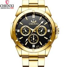 CHENXI De Luxe Or Hommes de Montres Unique Robe Daffaires de Montre Bracelet pour Homme Femme Amant Horloge Dor Mâle Étanche Femelle 019A
