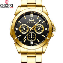 CHENXI Luxury Gold Mens Watches Unique Business Dress Wristwatch for Man Woman Lovers Clock Golden Waterproof Male Female 019A