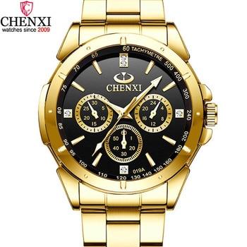 CHENXI Luxury Gold Men's Watches Unique Business Dress Wristwatch for Man Woman Lover's Clock Golden Waterproof Male Female 019A crocs classic unisex for male for female man woman tmallfs tmallfs shoes