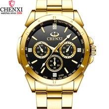 CHENXI lüks altın erkek saatler benzersiz iş elbise kol saati adam kadın için sevgilinin saat altın su geçirmez erkek dişi 019A