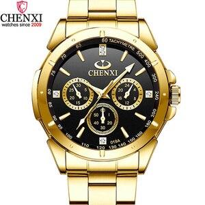 Image 1 - Chenxi lujo oro Relojes de hombre único negocio vestido reloj para hombre mujer amante reloj de oro impermeable mujer hombre 019a
