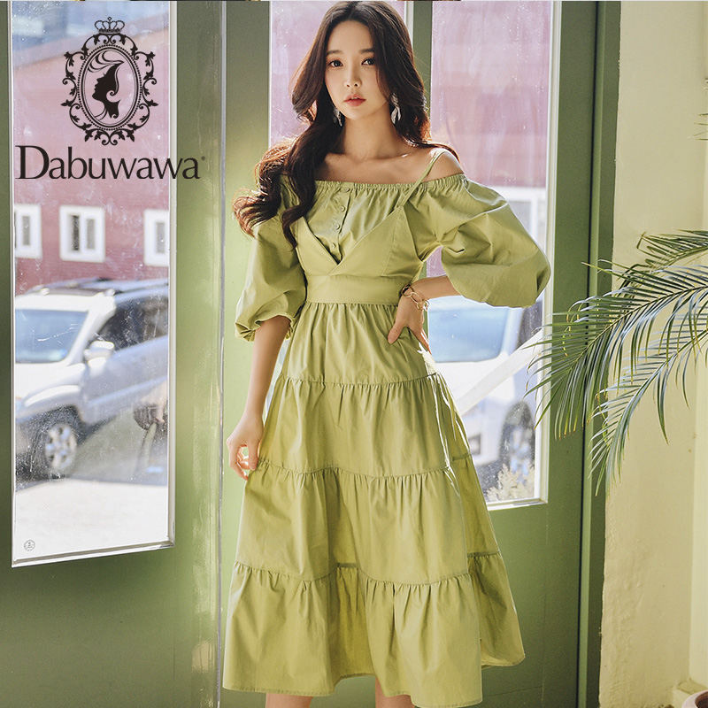 Dabuwawa Vintage Sexy Off Shoulder Long Dress Women Lantern Sleeve Solid Pleated Party A-Line Maxi Dresses Female DT1BDR065