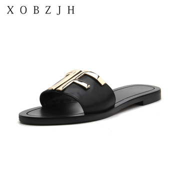 Flat Women Summer Black Sandals Shoes Designer women luxury 2019 Brand Logo Genuine Leather Slippers Woman